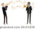 음악 클립 아트. 연주한다. 트럼펫 36141838