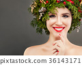 Perfect Christmas Girl Smiling. Beautiful Model  36143171