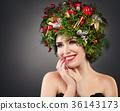 Perfect Christmas Girl Smiling. Beautiful Model  36143173