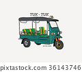 Tuk Tuk in Thailand vector. 36143746