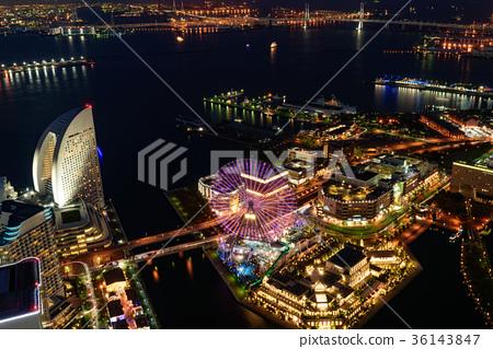 橫濱港未來的晚上風景 36143847