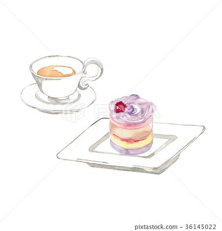 水彩畫 蛋糕 茶 36145022
