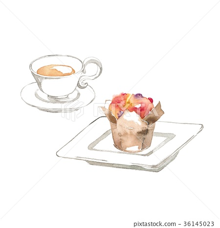 Tea and red muffins 36145023