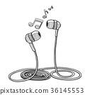 Headphones doodle sketch style vector illustration 36145553