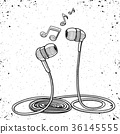 Headphones doodle sketch style vector illustration 36145555