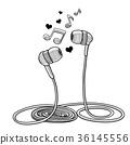 Headphones doodle sketch style vector illustration 36145556