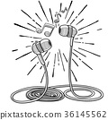Headphones doodle sketch style vector illustration 36145562