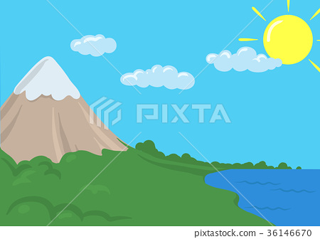 Cartoon vector landscape with mountain and sea 36146670