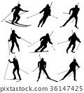 滑雪者 剪影 人影 36147425