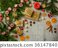 Christmas festive card with fir branches and decor 36147840