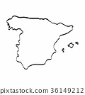 Spain map outline graphic freehand drawing  36149212