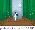 vector of japanese bamboo forest in paper style 36151385