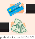Cash money banknote and credit card 36155221