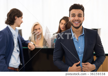 Latin Man Happy Smiling Wear Elegants Suit While 36159338