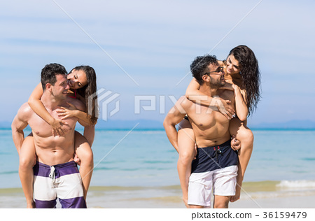 Two Couple On Beach Summer Vacation, Young People 36159479
