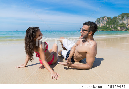 Couple On Beach Summer Vacation, Young People 36159481