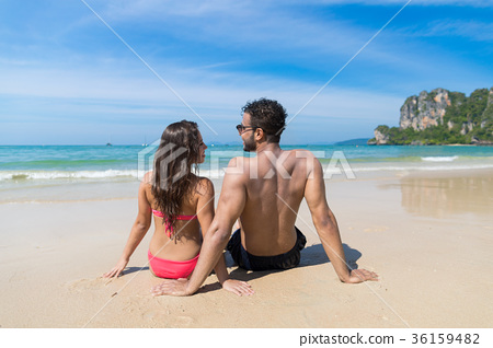 Couple On Beach Summer Vacation, Young People 36159482