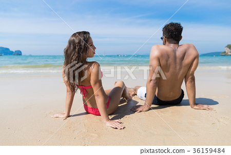 Couple On Beach Summer Vacation, Young People 36159484