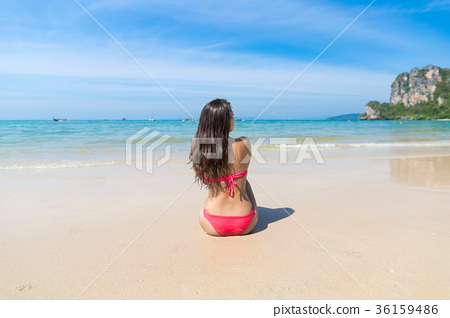 Attractive Young Caucasian Woman In Swimsuit 36159486