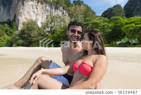Couple On Beach Summer Vacation, Young People 36159487