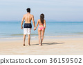 Couple On Beach Summer Vacation, Young People In 36159502