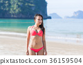 Attractive Young Caucasian Woman In Swimsuit On 36159504