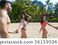 Two Couple On Beach Summer Vacation, Young People 36159506