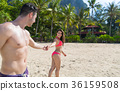 Couple On Beach Summer Vacation, Young People In 36159508