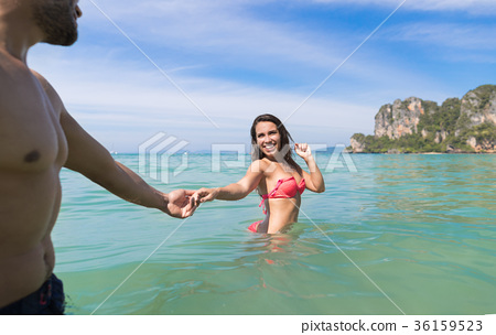 Couple On Beach Summer Vacation, Young People In 36159523