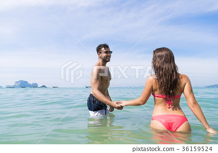 Couple On Beach Summer Vacation, Young People In 36159524
