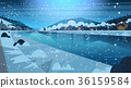 Frozen River Night View With Small Country Houses 36159584