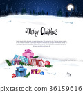 Merry Christmas Holiday Card With Presents Over 36159616