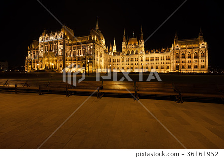 Hungarian Parliament at Night in Budapest 36161952