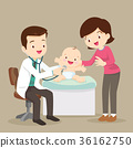 Mom and Pediatrician doctor examining little baby 36162750