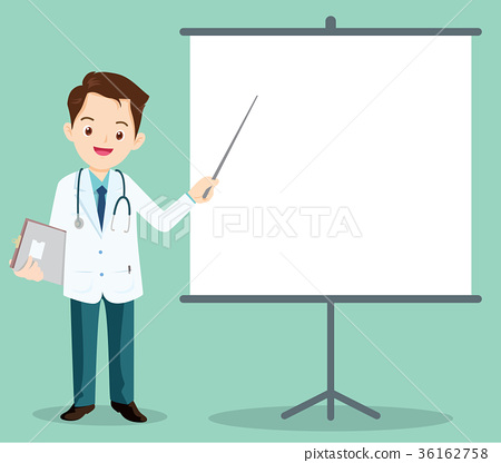 Smart doctor presenting with Projector 36162758