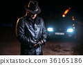 Maniac in black leather coat and hat, back view 36165186