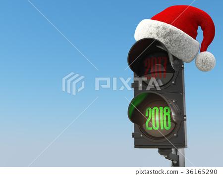 Happy new year 2018. Santa hat on  traffic light 36165290