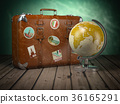Old suitcase with globe on wood  background.  36165291