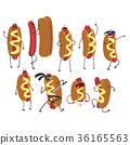Set of funny cartoon hot dog character in action 36165563