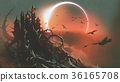 castle of thorn with solar eclipse in dark sky 36165708