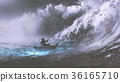 man in a boat in stormy sea 36165710