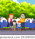Family members standing in the park 36168560