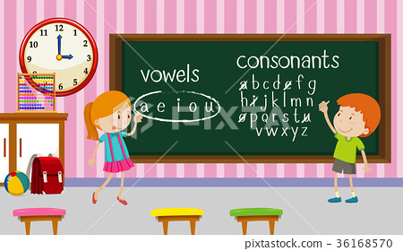 Kids studying english in classroom 36168570