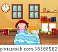 Boy and girl sleeping in bed 36168582