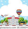 Background scene with school in neighborhood 36168604