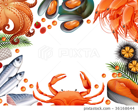 Border template with different kinds of seafood 36168644
