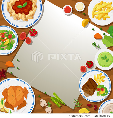 Border template with different food in the plates 36168645