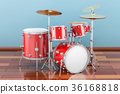 Drum kit indoor, 3D rendering 36168818