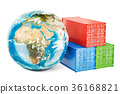 Earth Globe with cargo containers 36168821