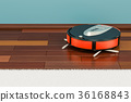 Modern red robotic vacuum cleaner in the room 36168843